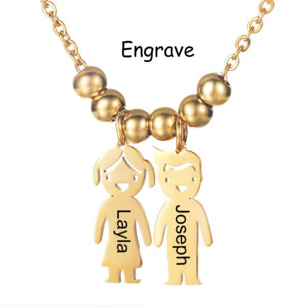 2019 New Fashion Personalized Kids Girl and Boy Pendant Necklace Custom Name Date For Mom Kids