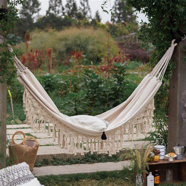 2 Person Hammock Boho Large Brazilian Macrame Fringe Double Deluxe Hammock Swing Net Chair Out Indoor