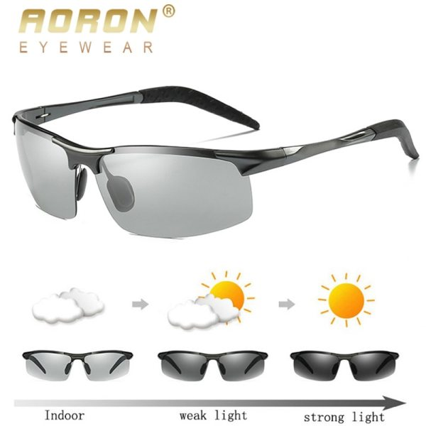 AORON Sunglaases Men Photochromic Polarized Sunglasses Aluminum Frame UV400 Sun Glasses Male Eyewear Driving Glasses