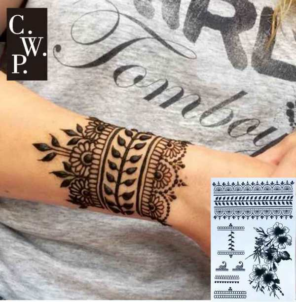 BH1704 1 piece Black Henna Cuff Tattoo with Flower Wrist pattern Temporary Tattoo for Hands