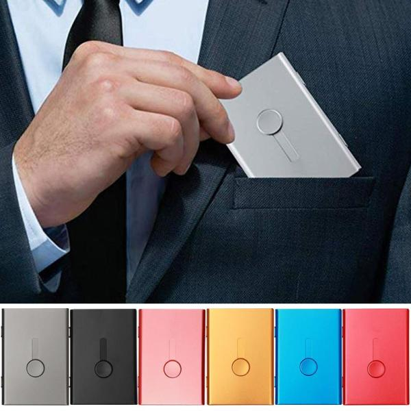 Business Card Holder Hand Push Card Case Bank Card Membership Package Metal Ultra Thin Business Card