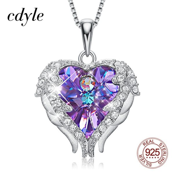 Cdyle Fashion Women 925 Sterling Silver Necklace with Purple Crystal Angel Wings Heart Pendant Necklace Birthday 2