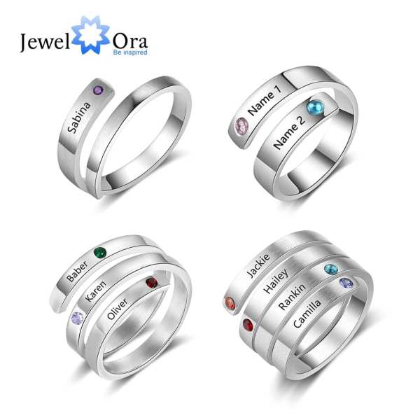 JewelOra Personalized Mothers Rings Custom Name Birthstone Wrap Rings for Women Engraved Jewelry Anniversary Gifts for