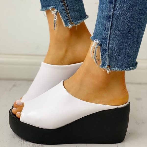 Summer Women Slipper Wedges Leather Slip on Casual Beach Slides Platform Ladies Shoes Height Increasing Chunky