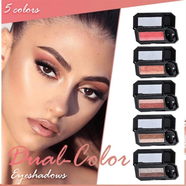 Beginner Double Color Lazy Eyeshadow with Mirror Small Mushroom Head Eye Shadow Brush Women Waterproof Two