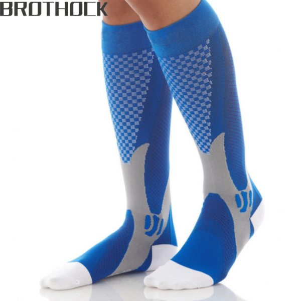Brothock Compression stockings Running basketball football socks Nylon Anti swelling stretch Outdoor sports compression socks