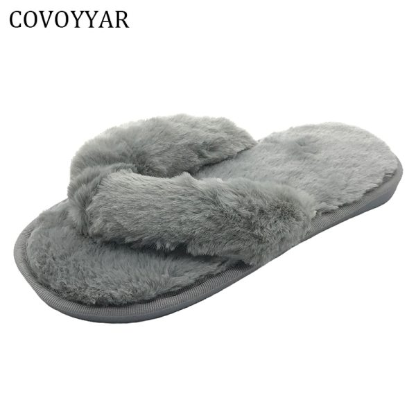 COVOYYAR Flip Flops Indoor Home Slippers 2019 Winter Fashion Comfort Fur House Women Flat Shoes Slip