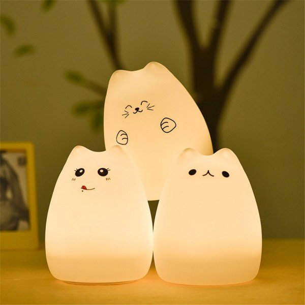 Colorful LED Night Light Animal Cat stype Silicone Soft Breathing Cartoon Baby Nursery Lamp for Children