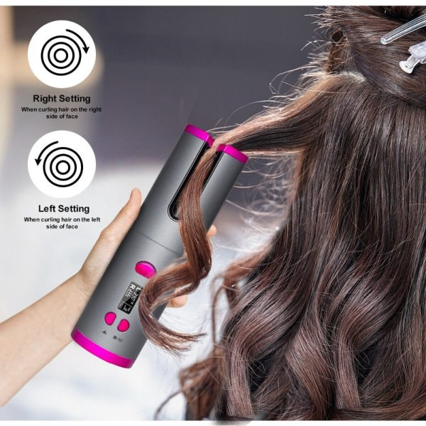 Cordless Automatic Hair Curler iron wireless Curling Iron USB Rechargeable Air Curler for Curls Waves LCD