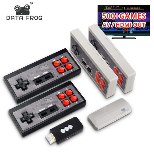 Data Frog Video Game Console USB 8 Bit TV Wireless Handheld Mini Game Console Build In