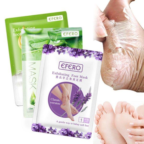 EFERO 6pcs 3pair Lavender Aloe Feet Exfoliating Foot Mask Skin Peeling Dead Skin Feet Mask for