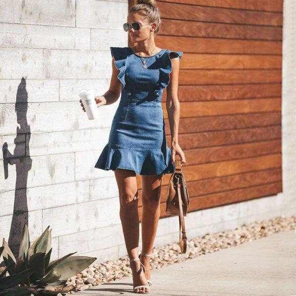 Lguc H Falbala Denim Dress 2020 Summer Sundress Backless Mini Jeans Dress Stretch Fashion Summer Clothes