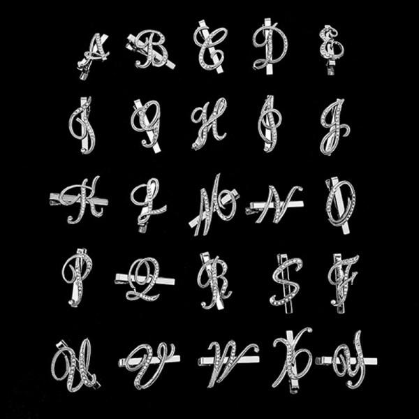 Men Fashion 26 Alphabet Letters Tie Clips Personality Name Letters Jewelry Men Necktie Clip Pin Suit