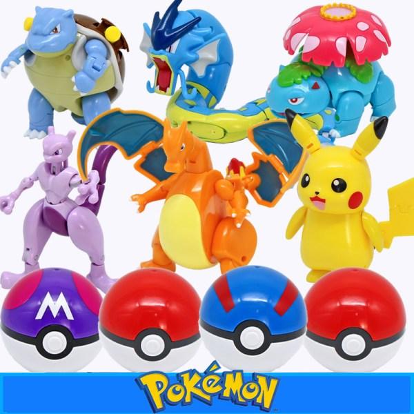 Takara Tomy Pokemon anime Japanese cartoon Pokeball Figures Toys Pikachu Charizard Squirtle Action Figure Model Dolls