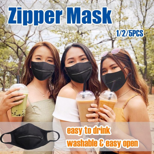 Funny Mask Masque Washable Mask Men Women Reusable Zipper Mask Easy to Drink Mascarillas Cosplay Mask