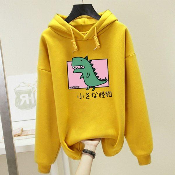 Harajuku Dinosaur Print Hoodies Women Harajuku Hooded Sweatshirt Plus Size Casual Hoody Tops Loose Long Sleeve