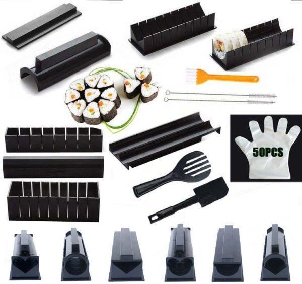 IYouNice 11Pcs Set Sushi Maker Equipment Kit Japanese Rice Ball Cake Roll Mold Sushi Multifunctional Mould