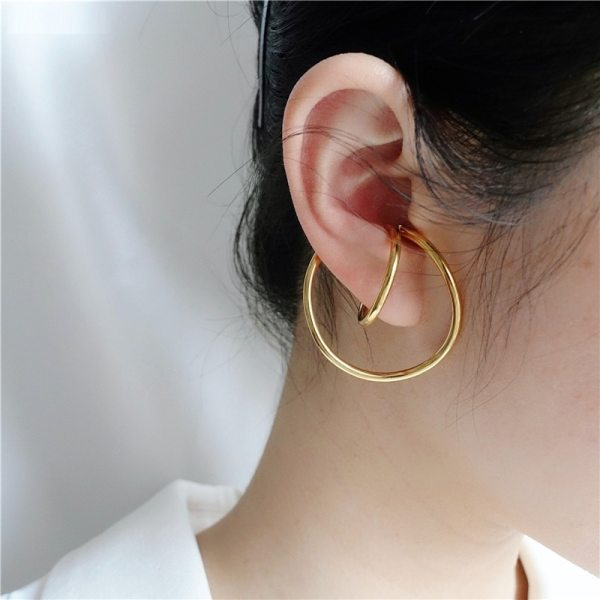 AOMU 2019 New Korean Simple Geometric Scrub Round knot Face Matte Metal Gold Stud Earrings Gifts 1