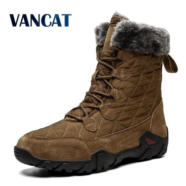 New Winter High Help Men Snow Boots Waterproof Man Boots Man Fur Thick Plush Warm Men