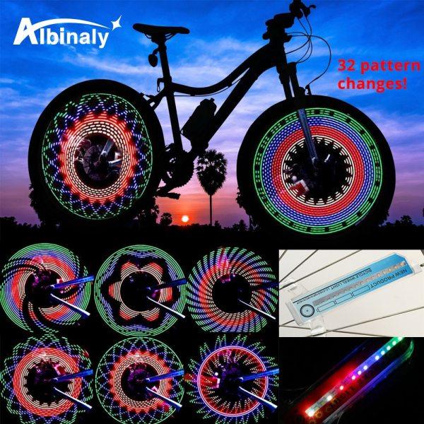30 pattern Bike light Bicycle wheel light double display flash 32 RGB LED light Bicycle spoke