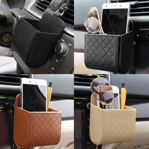 IKSNAIL Car Storage Bag Air Vent Dashboard Tidy Hanging Leather Organizer Box Glasses Phone Holder Storage 2