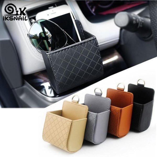 IKSNAIL Car Storage Bag Air Vent Dashboard Tidy Hanging Leather Organizer Box Glasses Phone Holder Storage