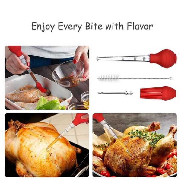 4 in1 Turkey Chicken Poultry Meat Ham Baster Sets Stainless Steel Needle Pump Kit