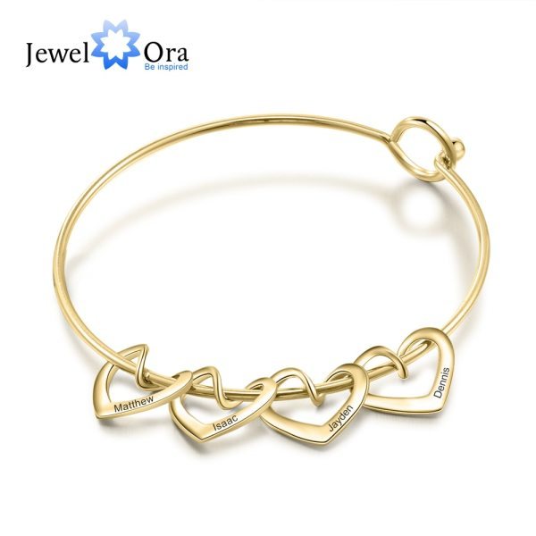 JewelOra Personalized Engraving Name Heart Charms Bracelets for Women Stainless Steel Customized Bangle DIY Jewelry Gift