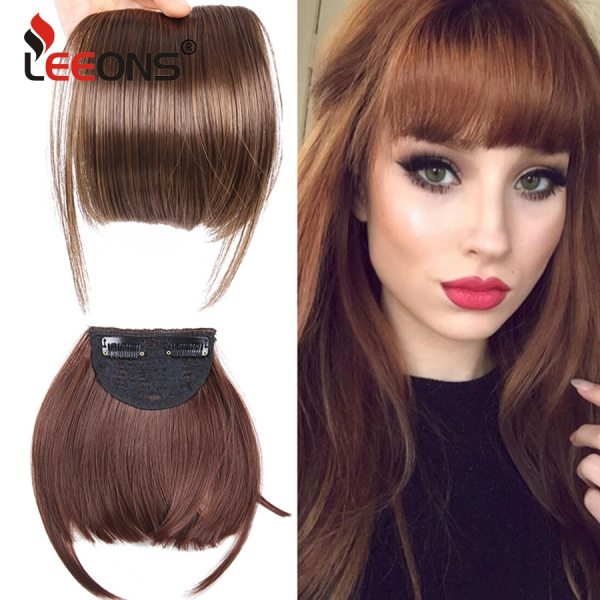 Leeons Short Synthetic Bangs Heat Resistant Hairpieces Hair Women Natural Short Fake Hair Bangs Hair Clips
