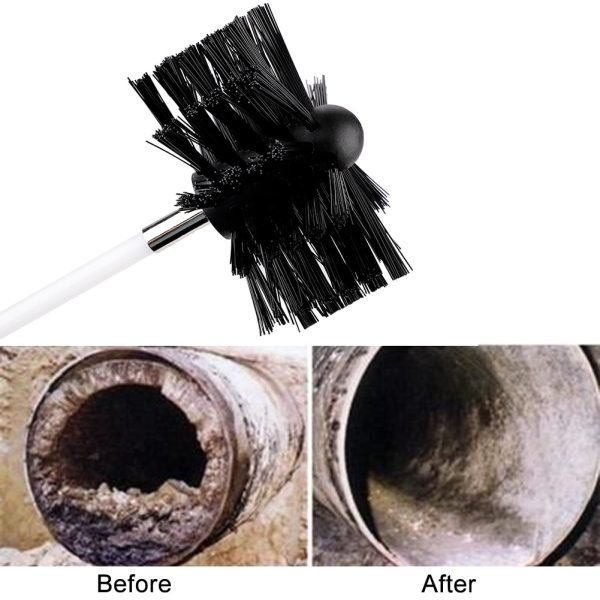 Rotatable 24ft Dryer Vent Cleaning Brush Boiler brush Nylon chimney brush 41cm poles 1 brush head