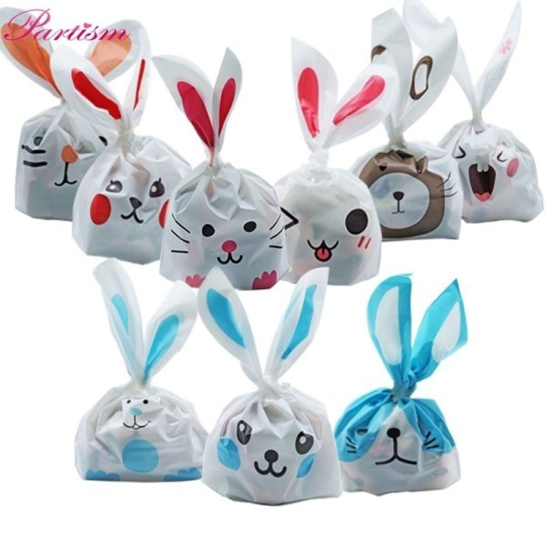 10PCS Lot Cute Rabbit Ear Cookie Candy Bags Animals Self Adhesive Plastic Bag For Biscuits Snack