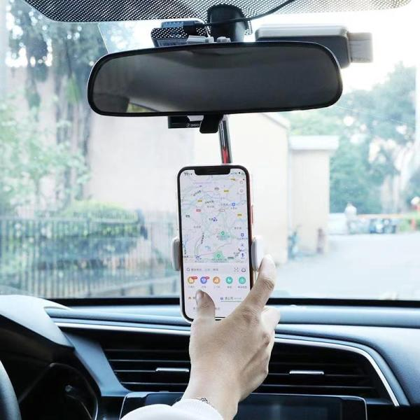 360 Degrees Car Rearview Mirror Mount Phone Holder For iPhone 12 GPS Seat Smartphone Car Phone