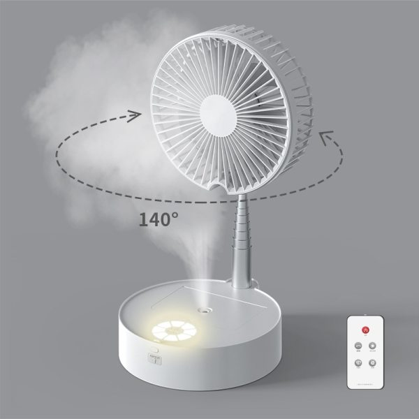 Adjustable Telescopic Fan USB Rechargeable Humidifying Fan for Student Portable Small Electric Dormitory Office Desktop Home