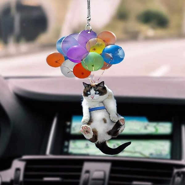 Cat Car Hanging Ornament with Colorful Balloon Car Hanging Ornament Car Interior Decor BIN