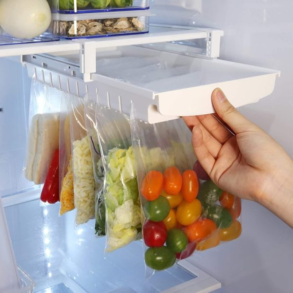Hanging Storage Rack Refrigerator Hanging Storage Clip Sliding Rail Tray for Food Bag Zip bag Fresh