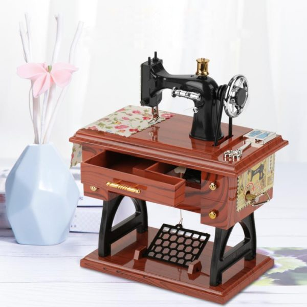 Music Box Sewing Machine Music Box European Crafts Retro Sewing Clockwork Home Crafts Decoration Creative Birthday