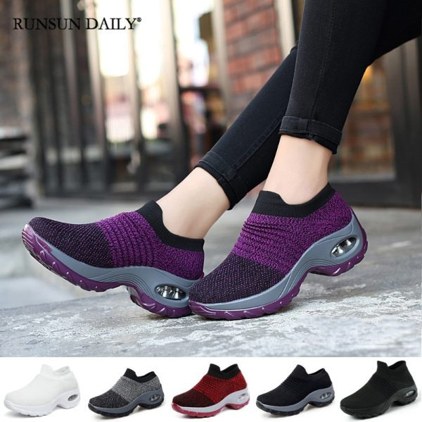 Women s Walking Shoes Fashion Air Cushion Thick Bottom Sneakers Slip on Lightweight Breathable Casual Shoes