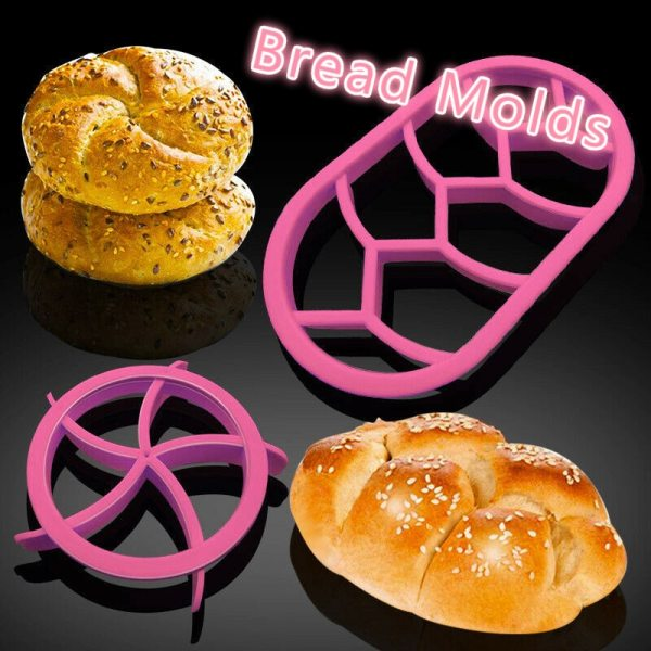 2pcs set Round Oval Bread Molds Stamper Plastic Dough Pastry Cutter Cookie Biscuit Press Mould Kitchen