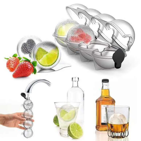 4 Cavity 5 5cm Big Size Ball Ice Molds Sphere Round Ball Ice Cube Makers Home