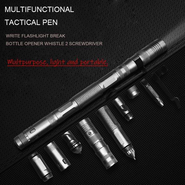 6 In 1 Multifunctional Self Defense Tactical Pen Aluminum Alloy Broken Window Cone EDC Outdoor Survival