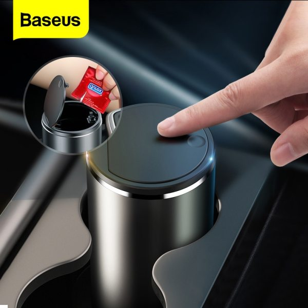 Baseus Car Trash Bin Alloy Garbage Can For Car Dustbin Waste Rubbish Basket Bin Organizer Storage