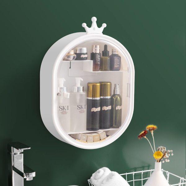 Cosmetic Storage Box Jewelry Storage Box Make up Organizer Lipstick Holder Plastic Bathroom Wall mounted Punch