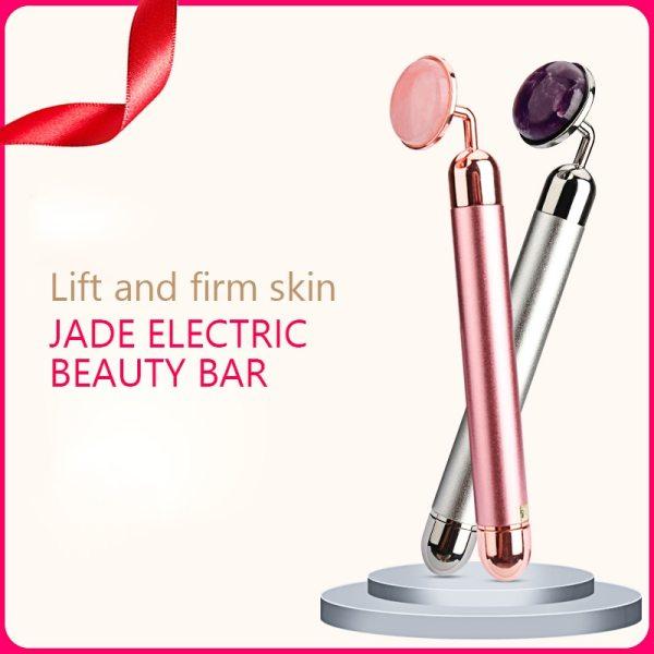 Electric Vibrating Natural Rose Quartz Jade Roller Facial Massager for Face Lifting Slim Jade Stone Massage