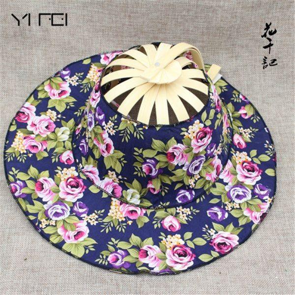 Folding Fan New Arrive Hand Held Folding Fans Traveling cap Summer Women Girl Sun Hat Bamboo