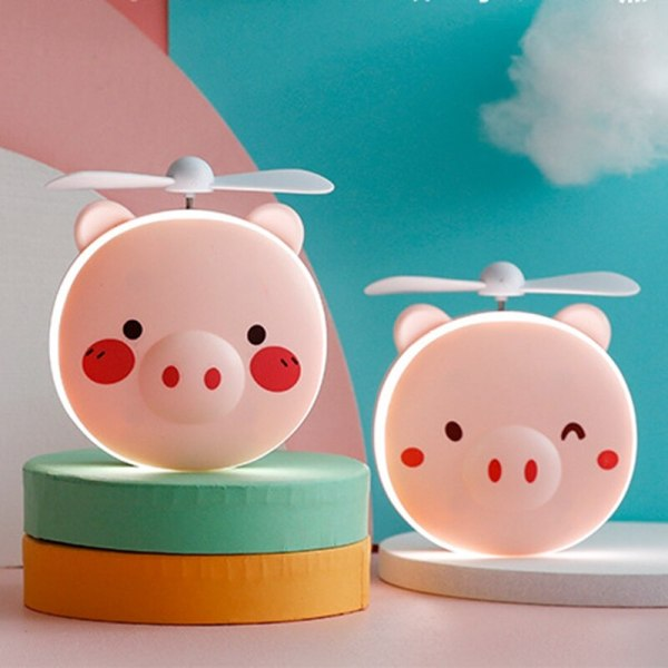 Portable 3 in 1 Cute Piggy Cosmetic Mirror with Fan and LED Night Light Mini Handheld