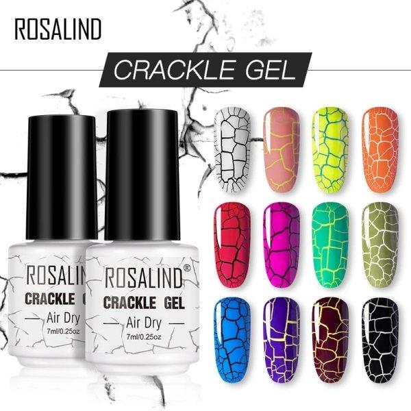ROSALIND Crackle Gel Nail Polish Hybrid Lacquer Base Primer of Nail Gel Set For Manicure UV