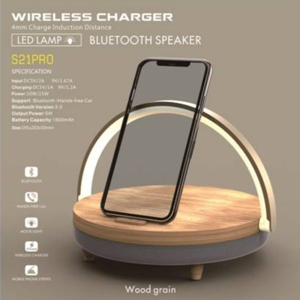 S21 Pro Bluetooth Speaker for iPhone x Wood Wireless Chargers LED Lamp Chargeurs Holder 10W High