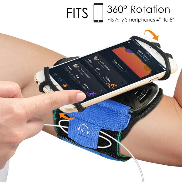 Sports Running Armband 360 degree rotatable mobile phone Holder Arm Band Wristband Fit 4 6inch Phones