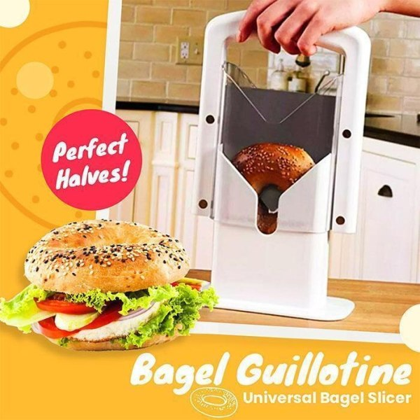 Universal Toast Bread Bagel Cutter Slicer Guillotine Action Blade Holder Knife Biter Safety Kitchen Tools White