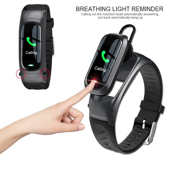 2 in 1 Smart Watch Bluetooth Headset Heart Rate Monitor Fitness Tracker AI voice control for